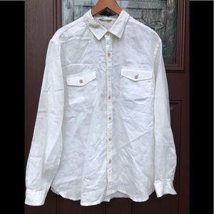 Tommy Bahama Linen White Long Sleeve Men's L Shirt
